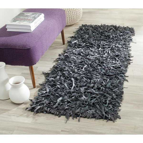 Safavieh Handmade Metro Modern Grey Leather Decorative Shag Runner - 2'3' x 6'