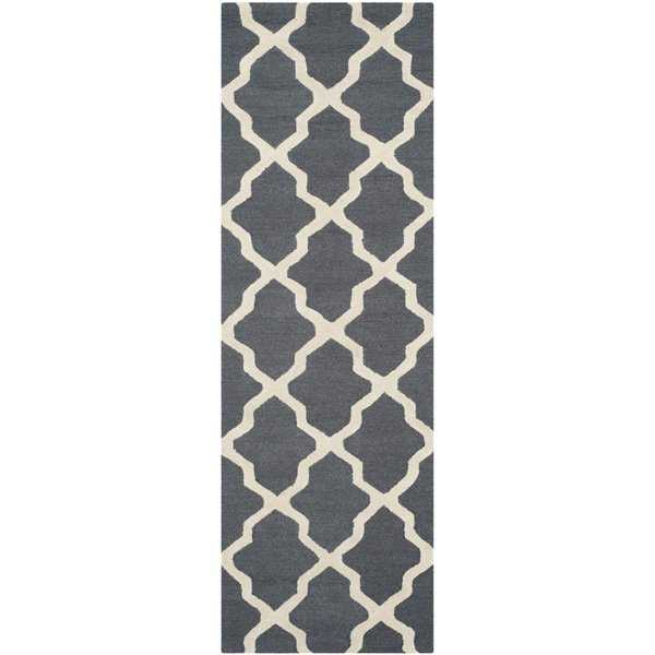 Safavieh Handmade Cambridge Dark Grey/ Ivory Wool Rug - 2'6' x 20'