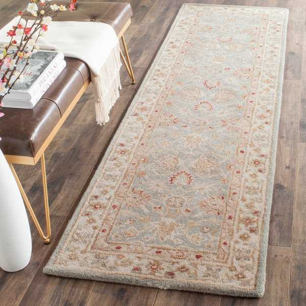 Safavieh Handmade Antiquity Blue-grey/ Beige Wool Rug - 2'3' x 10'