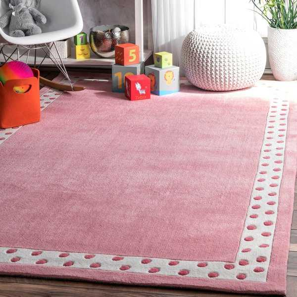 nuLOOM Handmade Modern Solid Dotted Border Kids Pink Rug (3'6 x 5'6) - 3'6' x 5'6'