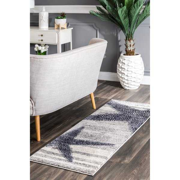 nuLOOM Grey Made by Thomas Paul Contemporary Starfishes by the Stripes Runner Area Rug - 2' x 6' runner