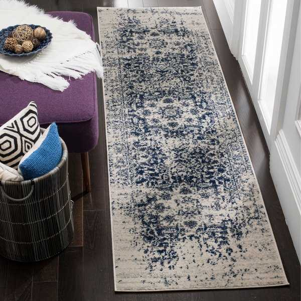 Safavieh Madison Vintage Boho Medallion Cream/ Navy Runner Rug - 2'3' x 14'